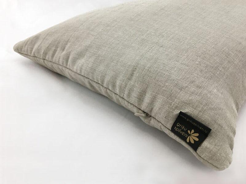Griķu sēnalu spilvens 50x60cm, stepēts lina apvalks